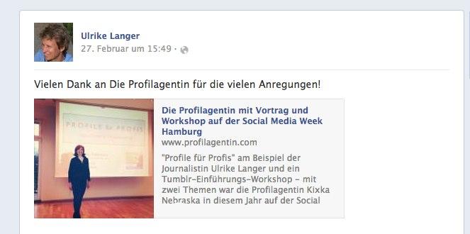 Ulrike Langers Reaktion auf meinen Vortrag