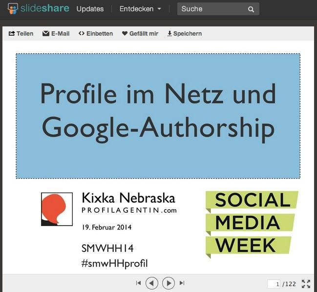 "Die Präsentationsfolien ""Profiile im Netz & Google Authorship"" bei Slideshare"