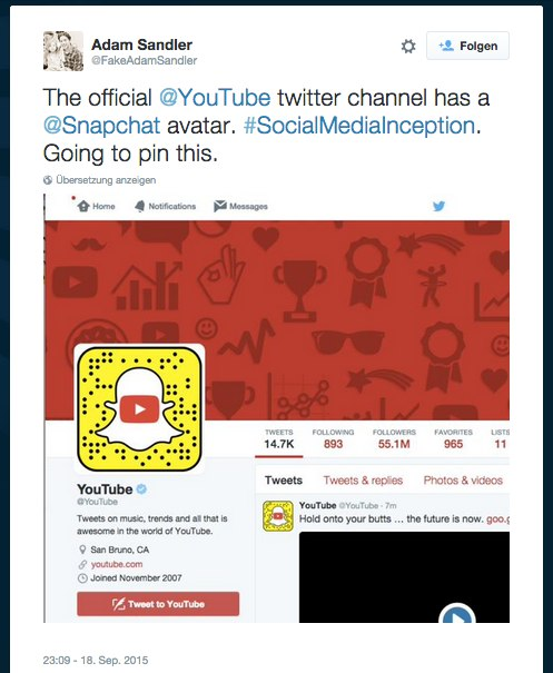 YouTube twitter channel has a @Snapchat avatar. #SocialMediaInception