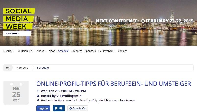 Online-Profil-Tipps für Berufsein- und Umsteiger - Social Media Week - Hamburg