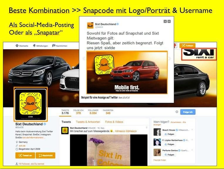Snapcode bei Twitter Sixt.de als Profilbild und Bildposting