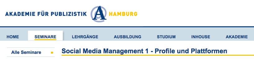 Social Media Management 1 - Profile und Plattformen_ Liste aller Seminare